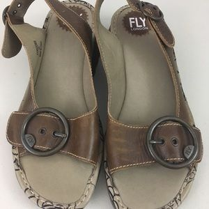 Fly London 39 brown wedge buckle sandals